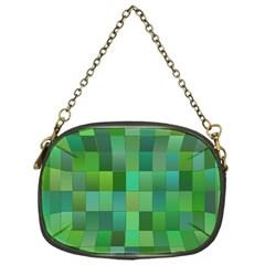 Green Blocks Pattern Backdrop Chain Purses (One Side)