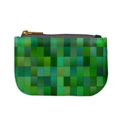 Green Blocks Pattern Backdrop Mini Coin Purses