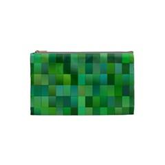 Green Blocks Pattern Backdrop Cosmetic Bag (Small)