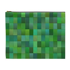 Green Blocks Pattern Backdrop Cosmetic Bag (xl)