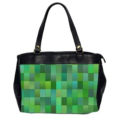 Green Blocks Pattern Backdrop Office Handbags (2 Sides)
