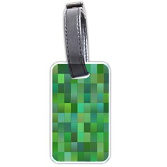 Green Blocks Pattern Backdrop Luggage Tags (two Sides)