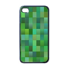 Green Blocks Pattern Backdrop Apple Iphone 4 Case (black)