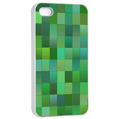 Green Blocks Pattern Backdrop Apple iPhone 4/4s Seamless Case (White)