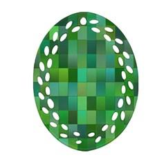 Green Blocks Pattern Backdrop Ornament (Oval Filigree)