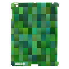 Green Blocks Pattern Backdrop Apple iPad 3/4 Hardshell Case (Compatible with Smart Cover)