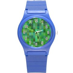 Green Blocks Pattern Backdrop Round Plastic Sport Watch (S)