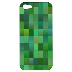 Green Blocks Pattern Backdrop Apple iPhone 5 Hardshell Case