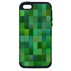 Green Blocks Pattern Backdrop Apple iPhone 5 Hardshell Case (PC+Silicone)