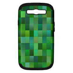 Green Blocks Pattern Backdrop Samsung Galaxy S III Hardshell Case (PC+Silicone)