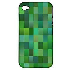 Green Blocks Pattern Backdrop Apple iPhone 4/4S Hardshell Case (PC+Silicone)