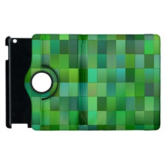 Green Blocks Pattern Backdrop Apple Ipad 3/4 Flip 360 Case