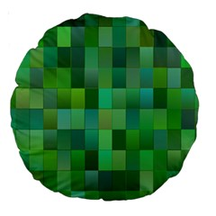 Green Blocks Pattern Backdrop Large 18  Premium Round Cushions