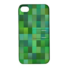 Green Blocks Pattern Backdrop Apple iPhone 4/4S Hardshell Case with Stand