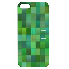 Green Blocks Pattern Backdrop Apple iPhone 5 Hardshell Case with Stand