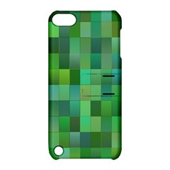 Green Blocks Pattern Backdrop Apple Ipod Touch 5 Hardshell Case With Stand