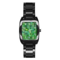 Green Blocks Pattern Backdrop Stainless Steel Barrel Watch