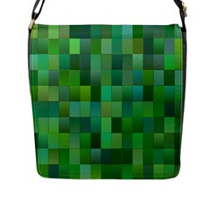 Green Blocks Pattern Backdrop Flap Messenger Bag (L)