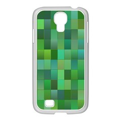 Green Blocks Pattern Backdrop Samsung GALAXY S4 I9500/ I9505 Case (White)