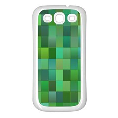 Green Blocks Pattern Backdrop Samsung Galaxy S3 Back Case (white)