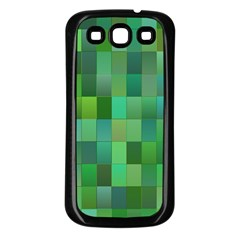 Green Blocks Pattern Backdrop Samsung Galaxy S3 Back Case (black)