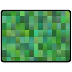 Green Blocks Pattern Backdrop Double Sided Fleece Blanket (Large)