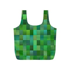 Green Blocks Pattern Backdrop Full Print Recycle Bags (S)