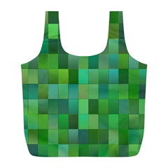 Green Blocks Pattern Backdrop Full Print Recycle Bags (L)