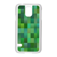 Green Blocks Pattern Backdrop Samsung Galaxy S5 Case (White)