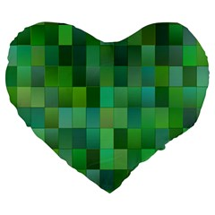 Green Blocks Pattern Backdrop Large 19  Premium Flano Heart Shape Cushions