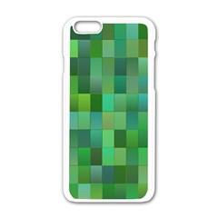Green Blocks Pattern Backdrop Apple Iphone 6/6s White Enamel Case
