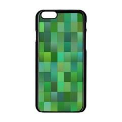 Green Blocks Pattern Backdrop Apple Iphone 6/6s Black Enamel Case