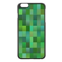 Green Blocks Pattern Backdrop Apple Iphone 6 Plus/6s Plus Black Enamel Case