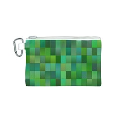 Green Blocks Pattern Backdrop Canvas Cosmetic Bag (S)