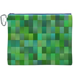 Green Blocks Pattern Backdrop Canvas Cosmetic Bag (XXXL)