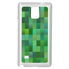Green Blocks Pattern Backdrop Samsung Galaxy Note 4 Case (White)