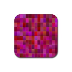 Shapes Abstract Pink Rubber Square Coaster (4 Pack)