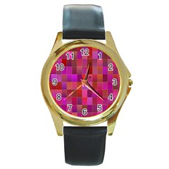 Shapes Abstract Pink Round Gold Metal Watch