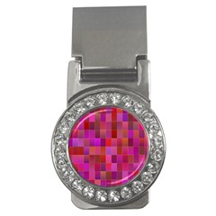 Shapes Abstract Pink Money Clips (CZ)