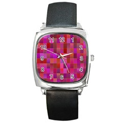 Shapes Abstract Pink Square Metal Watch