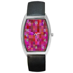 Shapes Abstract Pink Barrel Style Metal Watch