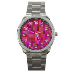 Shapes Abstract Pink Sport Metal Watch