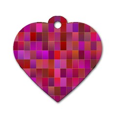 Shapes Abstract Pink Dog Tag Heart (Two Sides)
