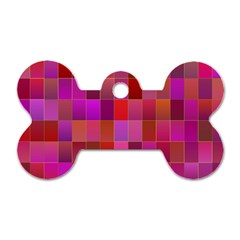 Shapes Abstract Pink Dog Tag Bone (One Side)