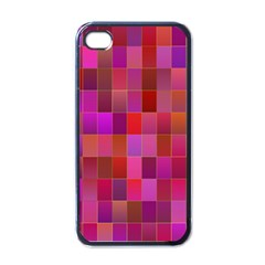 Shapes Abstract Pink Apple iPhone 4 Case (Black)