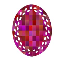 Shapes Abstract Pink Oval Filigree Ornament (Two Sides)