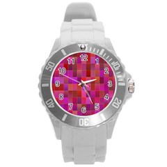 Shapes Abstract Pink Round Plastic Sport Watch (l)
