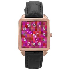 Shapes Abstract Pink Rose Gold Leather Watch