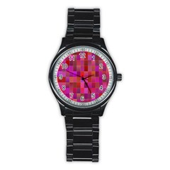 Shapes Abstract Pink Stainless Steel Round Watch