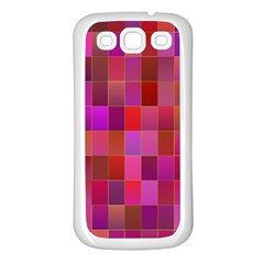 Shapes Abstract Pink Samsung Galaxy S3 Back Case (White)